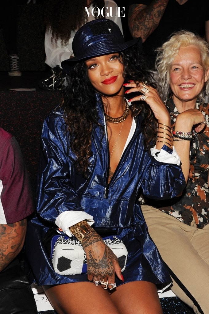 NEW YORK, NY - SEPTEMBER 06:  Singer Rihanna attends the Alexander Wang fashion show during Mercedes-Benz Fashion Week Spring 2015 at Pier 94 on September 6, 2014 in New York City.  (Photo by Craig Barritt/Getty Images)