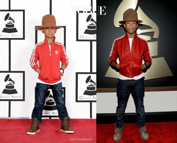 2014년 그래미 시상식에 아디다스 저지 집업 재킷을 입고 등장한 퍼렐을 따라한 소년.
