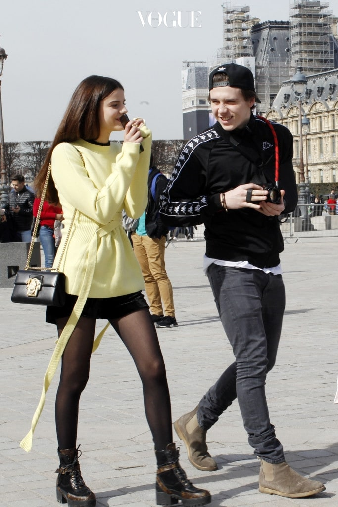 Victoria and Brooklyn Beckham visit the Louvre Museum with Brooklyn's ex-girlfriend Sonia Ben Ammar in Paris, France. Pictured: Victoria Beckham, Brooklyn Beckham and Sonia Ben Ammar Ref: SPL1460260  110317   Picture by: Splash News Splash News and Pictures Los Angeles:310-821-2666 New York:212-619-2666 London: 870-934-2666 photodesk@splashnews.com