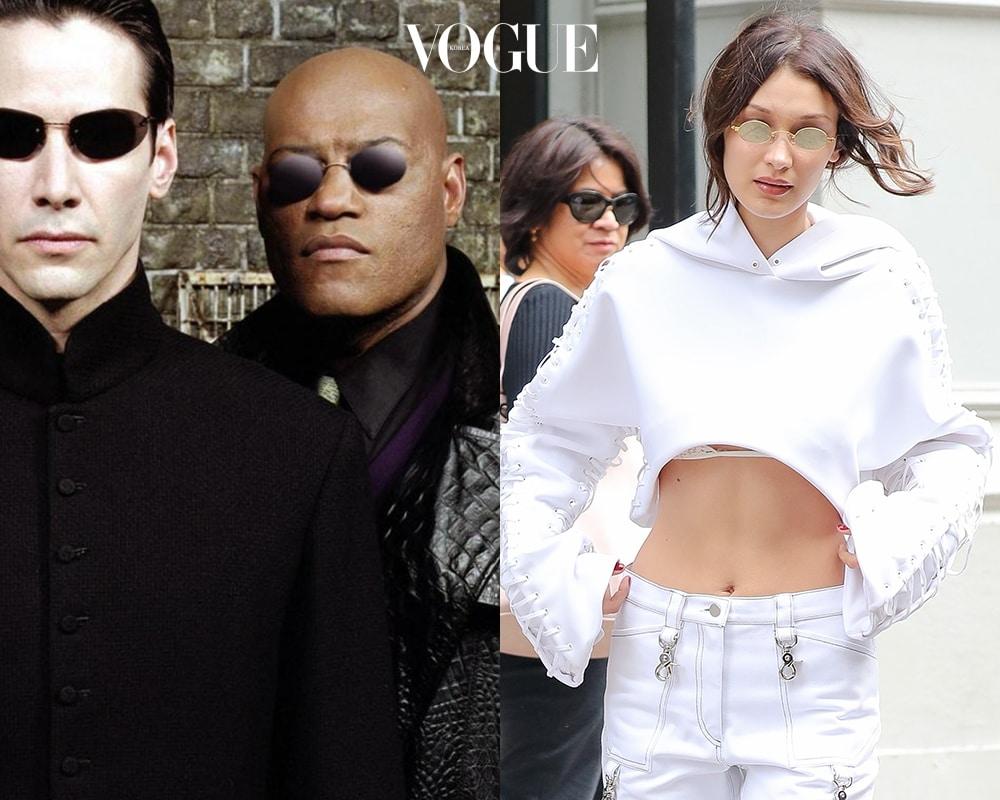 영화 속 '모피어스'와 비슷한 미러 싸이파이 선글라스를 착용했습니다.