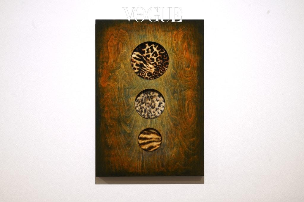 밝은 별 6 김상돈과 협업 2017 인조호피, 자작나무 판에 단청 78.5 x 54cm Courtesy of the artist and Kukje Gallery