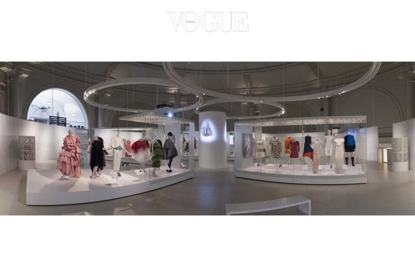 "The upstairs section of the ""Balenciaga: Shaping Fashion"" exhibition at the V&A"