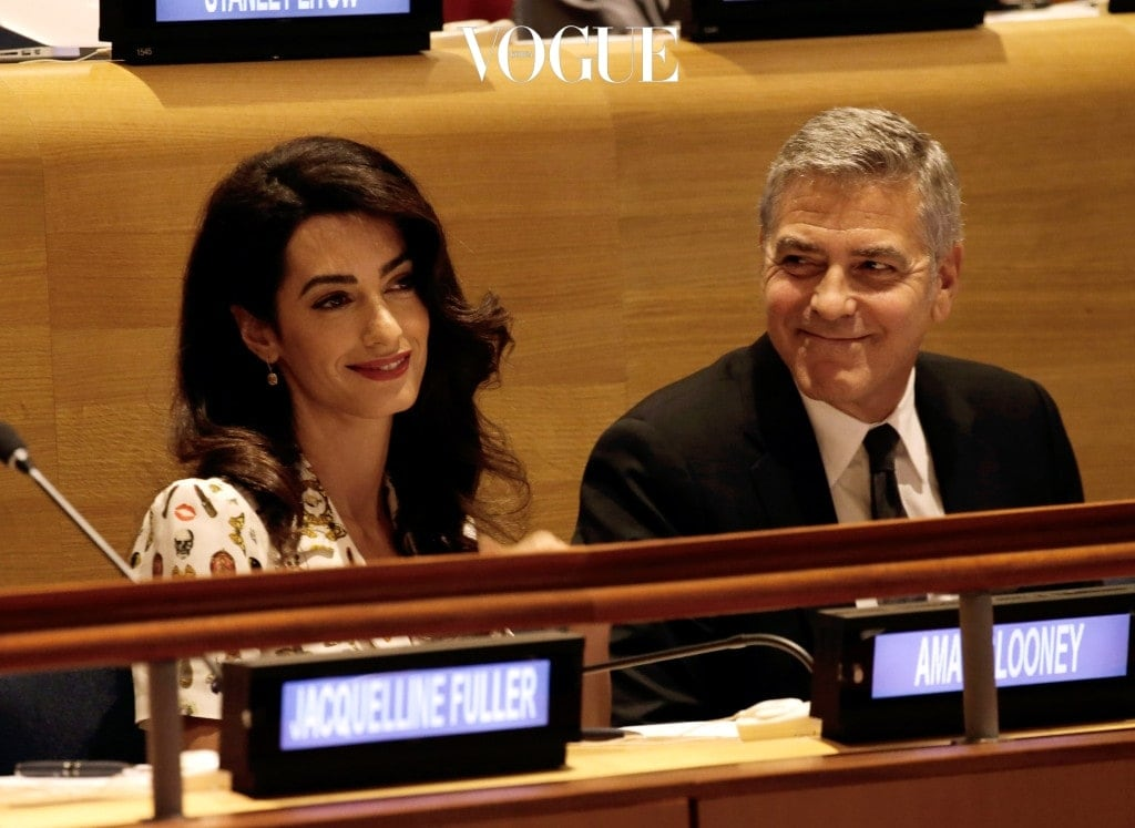 NEW YORK, NY - SEPTEMBER 20:  (AFP OUT) Actor George Clooney (R) and wife Amal Clooney attend a Leaders Summit for Refugees during the United Nations 71st session of the General Debate at the United Nations General Assembly on September 20, 2016 in New York, New York. (Photo by Peter Foley - Pool/Getty Images)