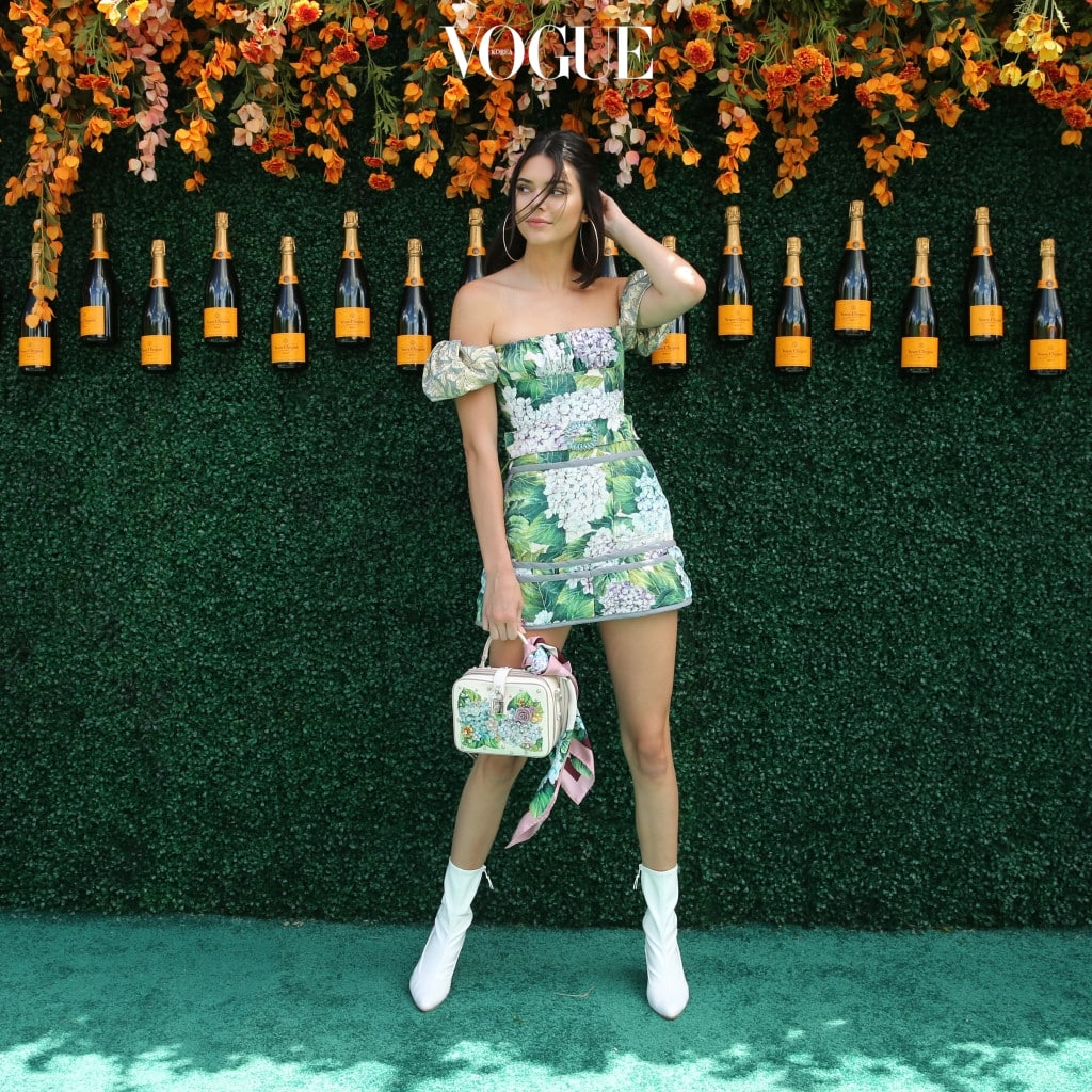 Model Kendall Jenner, wearing an off-the-shoulder floral dress with white ankle boots, arrives at the 10th Annual Veuve Clicquot Polo Classic at Liberty State Park in Jersey City, New Jersey Pictured: Kendall Jenner Ref: SPL1512333  030617   Picture by: Christopher Peterson/Splash News Splash News and Pictures Los Angeles:310-821-2666 New York:212-619-2666 London:870-934-2666 photodesk@splashnews.com