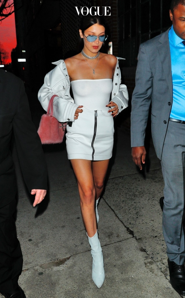 Bella Hadid shows off her bosom in a daring, shoulder baring white outfit in New York, NY.  Pictured: Bella Hadid Ref: SPL1474648  050417   Picture by: Jackson Lee / Splash News Splash News and Pictures Los Angeles:310-821-2666 New York:212-619-2666 London:870-934-2666 photodesk@splashnews.com