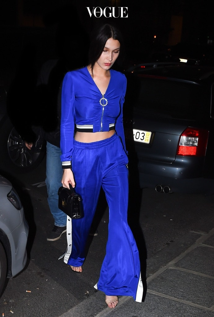 Bella Hadid arrives at the Balmain after party in Paris Pictured: Bella Hadid Ref: SPL1455009  030317   Picture by: Neil Warner / Splash News Splash News and Pictures Los Angeles:310-821-2666 New York:212-619-2666 London:870-934-2666 photodesk@splashnews.com