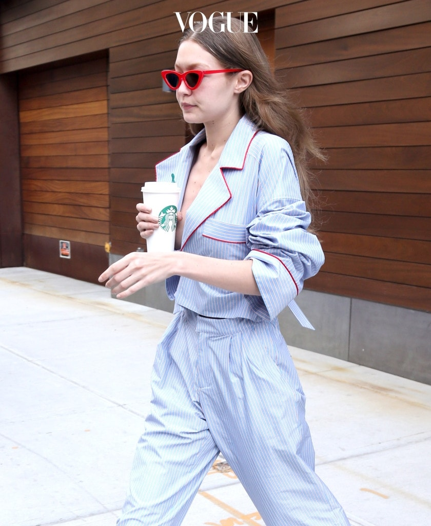 Gigi Hadid steps out wearing a low cut jacket in New York City. Pictured: Gigi Hadid Ref: SPL1525627  230617   Picture by: Splash News Splash News and Pictures Los Angeles:310-821-2666 New York: 212-619-2666 London:870-934-2666 photodesk@splashnews.com
