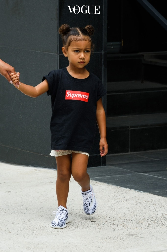 North West, daughter of Kim Kardashian and Kanye West, is seen wearing a Supreme t-shirt and kids Adidas Yeezy sneakers in New York City, New York. Pictured: North West Ref: SPL1326492  130916   Picture by: Splash News Splash News and Pictures Los Angeles:310-821-2666 New York:212-619-2666 London:870-934-2666 photodesk@splashnews.com