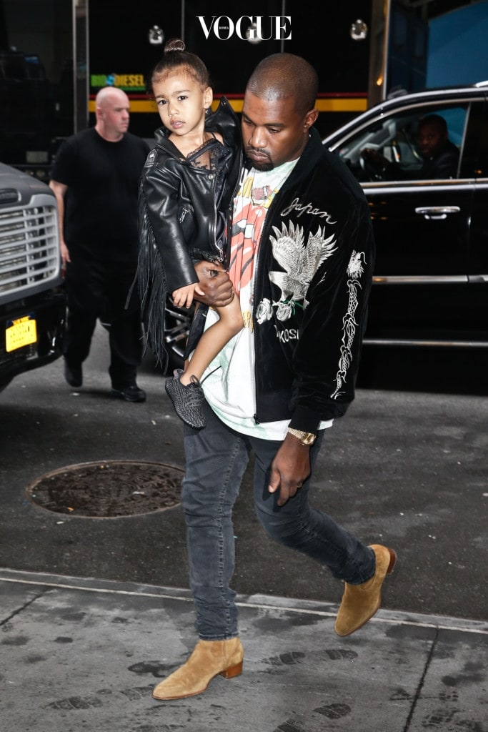 Kanye West carries daughter North West into the 'Lion King' on Broadway as his concert at Governor's Ball is cancelled due to severe weather in New York City on Sunday June 5th, 2016. Credit / Splash News Pictured: Kanye West, North West Ref: SPL1276105  050616   Picture by: SRPP / Splash News Splash News and Pictures Los Angeles:310-821-2666 New York:212-619-2666 London:	870-934-2666 photodesk@splashnews.com