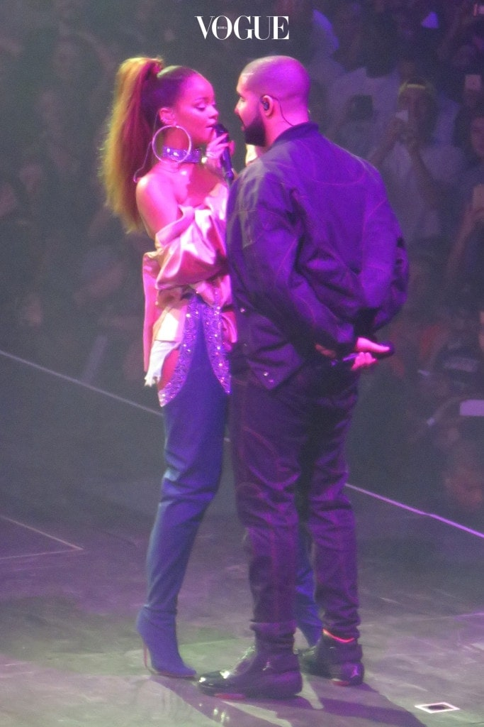 "Rapper, Drake and his rumored girlfriend Rihanna come close to Kissing as they Perform live on Stage at Drake's 7th Annual OVO Fest Concert held at the Air Canada Centre in Toronto, Canada. Drake brought out Rihanna as a special guest and the two were very close and intimate in their performance as they performed the songs ""Work"" and ""Two Good"". Pictured: Rihanna, Drake Ref: SPL1328987  010816   Picture by: S Fernandez  / Splash News Splash News and Pictures Los Angeles:310-821-2666 New York:212-619-2666 London:870-934-2666 photodesk@splashnews.com"