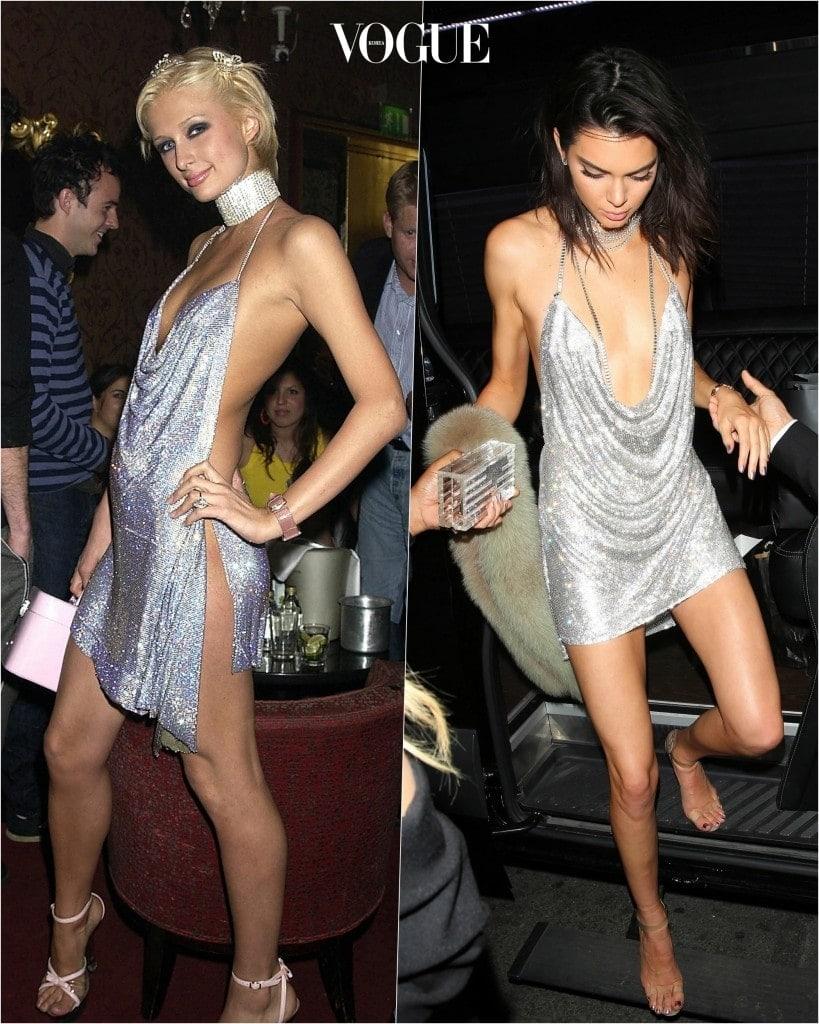 추종자: 켄달 제너 Kendall Jenner 포착: 99% 싱크로율을 자랑하는 메탈릭한 실버 카울넥 드레스