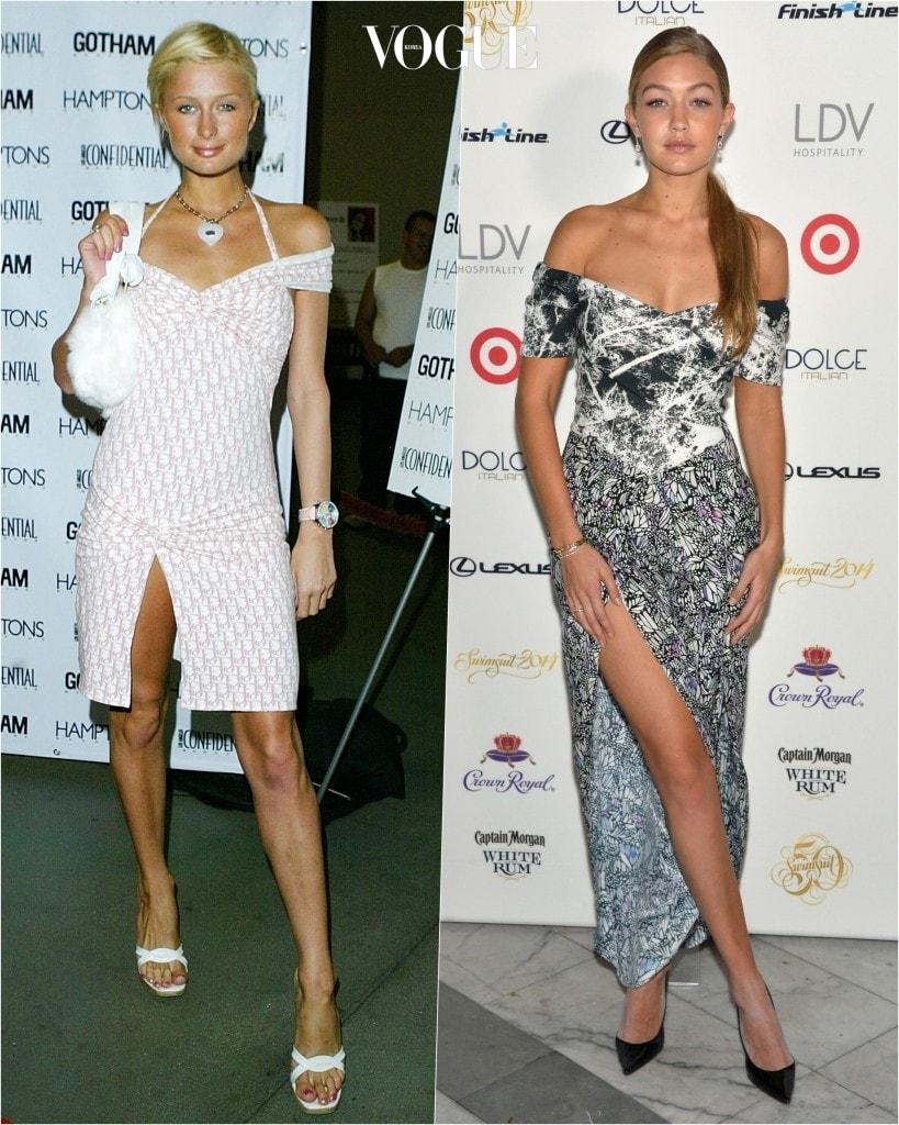 추종자: 지지 하디드 Gigi Hadid 포착: 튤립 모양으로 디자인된 오프숄더 라인과 한쪽 허벅지가 길게 파인 슬릿 디자인의 드레스