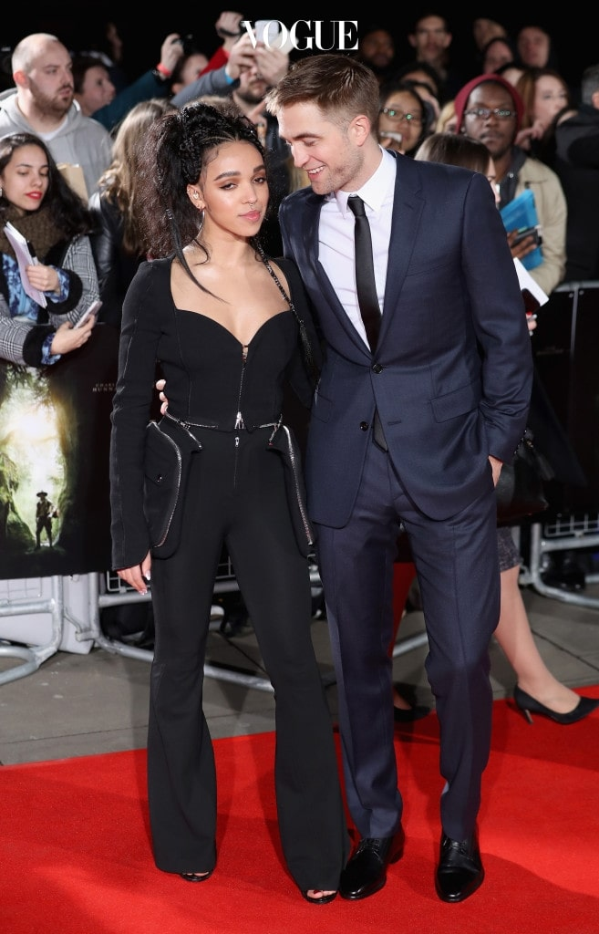 LONDON, ENGLAND - FEBRUARY 16:  FKA Twigs and Robert Pattinson arrive at 'The Lost City of Z' UK premiere at the British Museum on February 16, 2017 in London, United Kingdom.  (Photo by Chris Jackson/Getty Images)