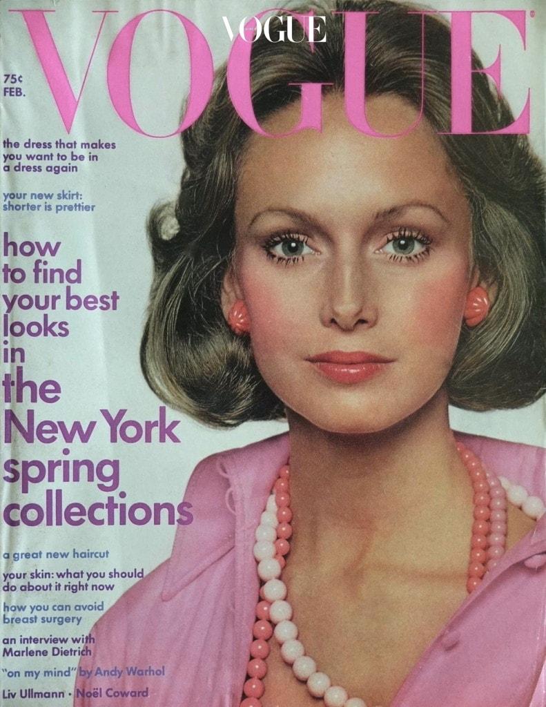모델 카렌 그레이엄이 케네스 제이 레인의 커스텀 주얼리를 착용한 1973년 2월호 미국 보그 커버.