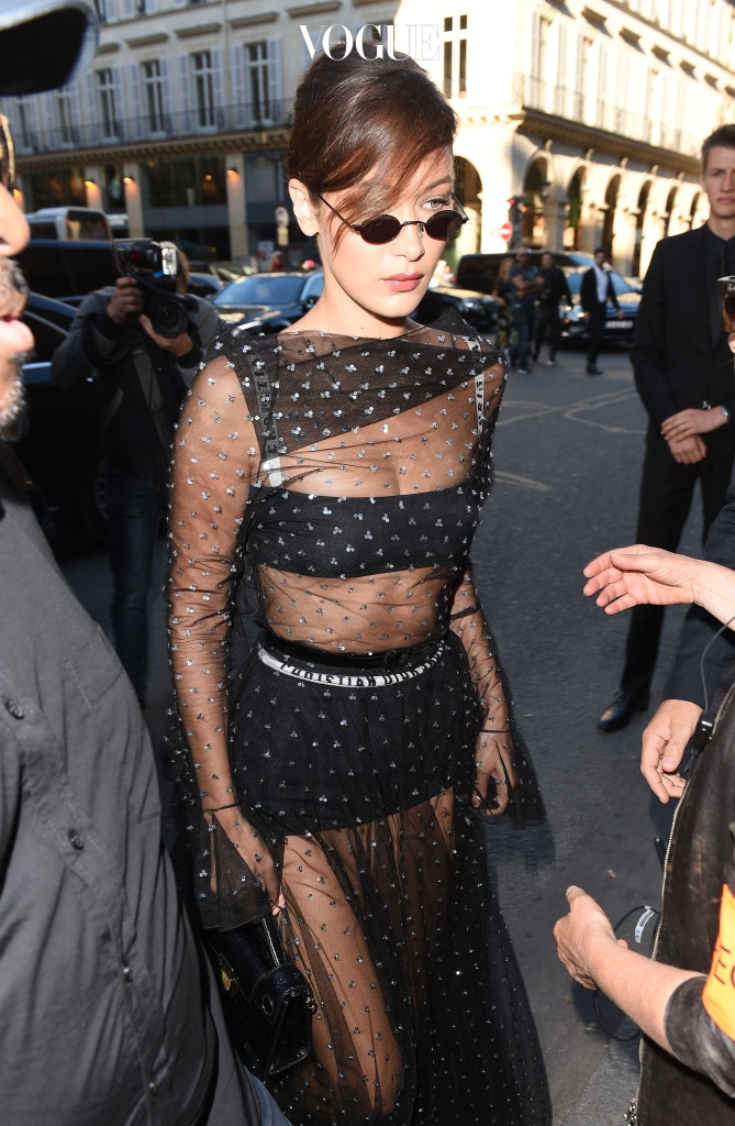 Bella Hadid is seen arriving at the Christian Dior 70th anniversary exhibition Party in Paris Pictured: Bella Hadid Ref: SPL1532176  030717   Picture by: Neil Warner / Splash News Splash News and Pictures Los Angeles:310-821-2666 New York:212-619-2666 London:870-934-2666 photodesk@splashnews.com