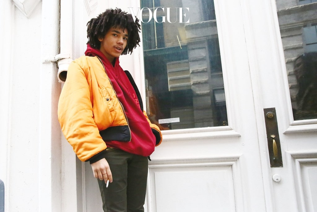 "NEW YORK, NY - MARCH 18:  Model Luka Sabbat poses outside 83 Wooster Street in Soho at the Kanye West  ""Pablo Pop-Up Shop"" In Manhattan on March 18, 2016 in New York City.  (Photo by Astrid Stawiarz/Getty Images)"