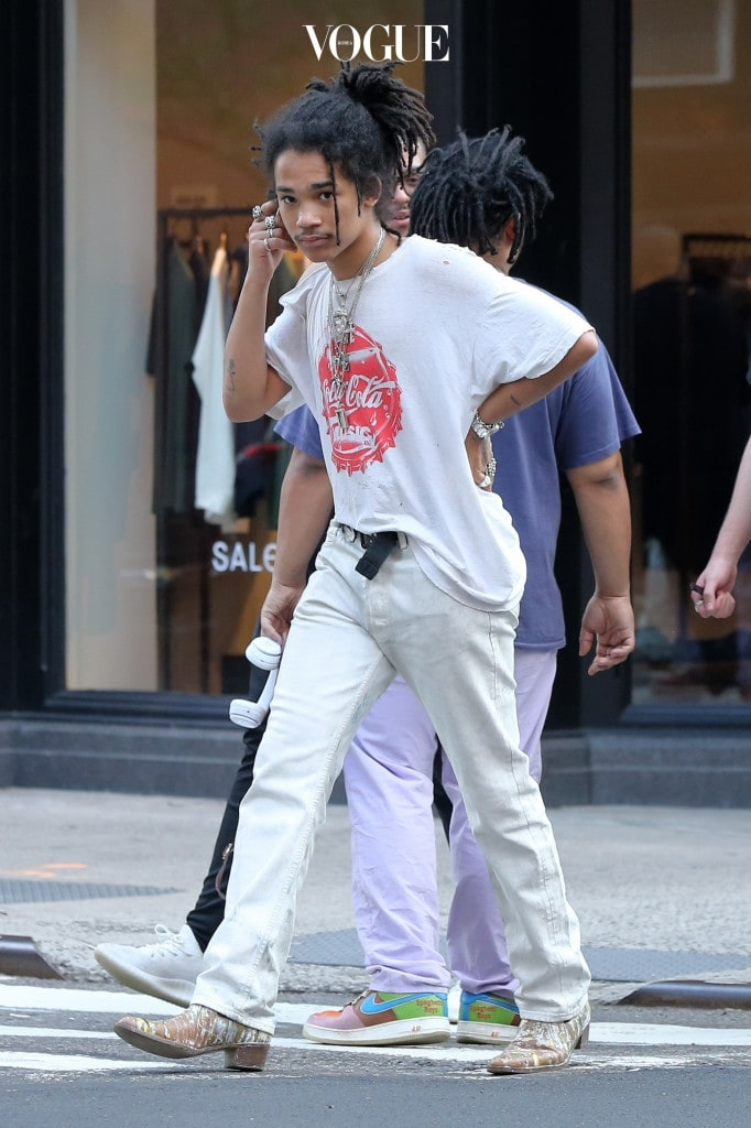 Model Luka Sabbat walks to dinner with friends in Nolita in New York City, New York. Pictured: Luka Sabbat Ref: SPL1502289  180517   Picture by: Christopher Peterson/Splash News Splash News and Pictures Los Angeles:310-821-2666 New York:212-619-2666 London:870-934-2666 photodesk@splashnews.com