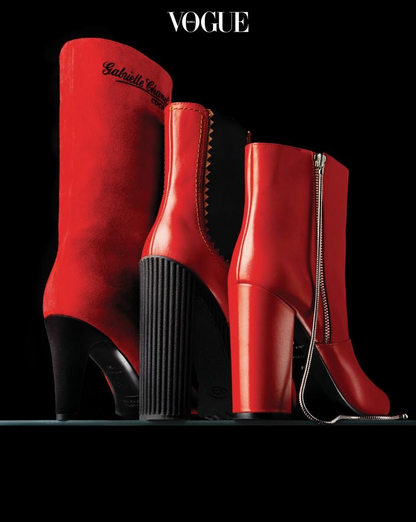 '가브리엘 샤넬(Gabrielle Chanel)'을 자수로 새긴 부츠는 샤넬(Chanel), 견고한 굽을 자랑하는 첼시 부츠는 토즈(Tod's), 뒷굽까지 온통 빨간색으로 마감한 부츠는 엠포리오 아르마니(Emporio Armani)