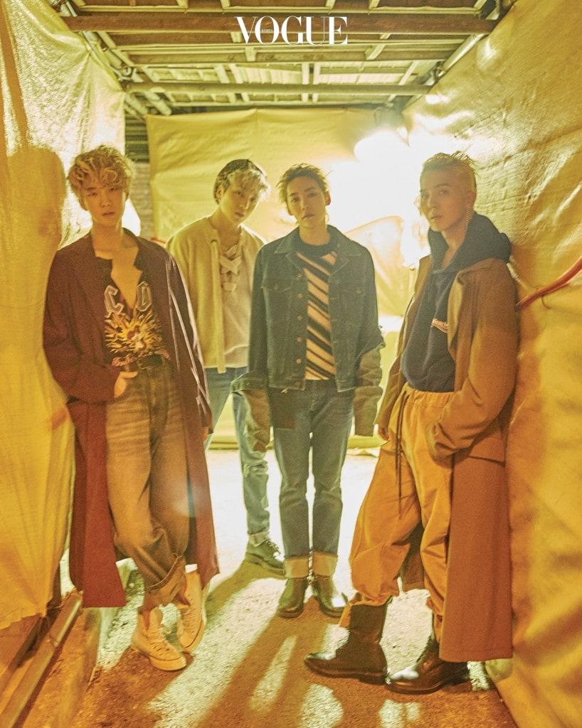 (왼쪽부터)이승훈이 입은 프린트 티셔츠와 데님 팬츠는 구찌(Gucci), 스웨이드 소재 코트는 미하라 야스히로(Mihara Yasuhiro), 하이톱 스니커즈는 컨버스(Converse). 강승윤이 입은 니트 스웨터는 안드레아 폼필리오(Andrea Pompilio), 데님 팬츠는 리바이스(Levi's), 레이스업 로퍼는 닥터 마틴(Dr. Martens). 김진우가 입은 줄무늬 니트 베스트는 안드레아 폼필리오, 긴소매 데님 재킷은 와이/프로젝트(Y/Project), 롤업 데님 팬츠는 리바이스, 로퍼는 발렌시아가(Balenciaga). 송민호가 입은 후디와 낡은 워커는 발렌시아가, 배기 팬츠는 안드레아 폼필리오.