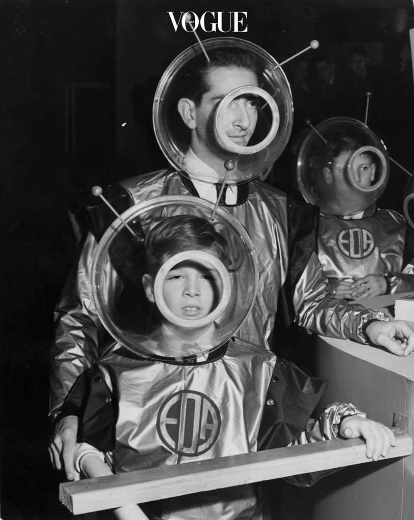 Former King Peter of Yugoslavia and his son Prince Alexander wearing space suits as they prepare to enter the 'Space Machine' at the Schoolboys' Own Exhibition, Horticultural Hall.   (Photo by Keystone/Getty Images)