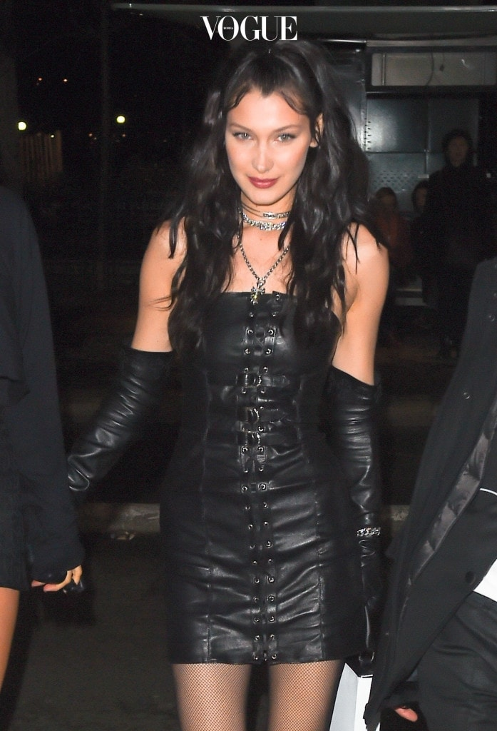 Bella Hadid arrives at the Matignon restaurant in Paris for her chrome hearts  after party Pictured: Bella Hadid Ref: SPL1456452  050317   Picture by: Neil Warner / Splash News Splash News and Pictures Los Angeles:310-821-2666 New York:212-619-2666 London:870-934-2666 photodesk@splashnews.com