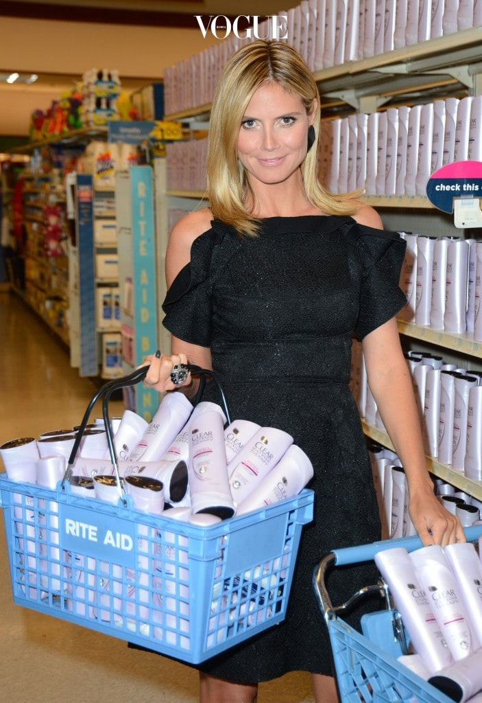 BEVERLY HILLS, CA - MAY 09:  Television Personality/Model Heidi Klum who was revelaed as the face and hair of new Clear Scalp and Hair Beauty Therapy At Beverly Hills Rite Aid at Rite Aid on May 9, 2012 in Beverly Hills, California.  (Photo by Frazer Harrison/Getty Images)