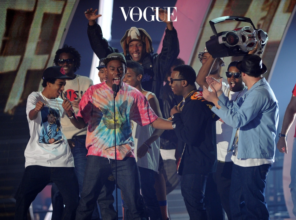 LOS ANGELES, CA - AUGUST 28:  Odd Future onstage during the 2011 MTV Video Music Awards at Nokia Theatre L.A. LIVE on August 28, 2011 in Los Angeles, California.  (Photo by Kevin Winter/Getty Images)