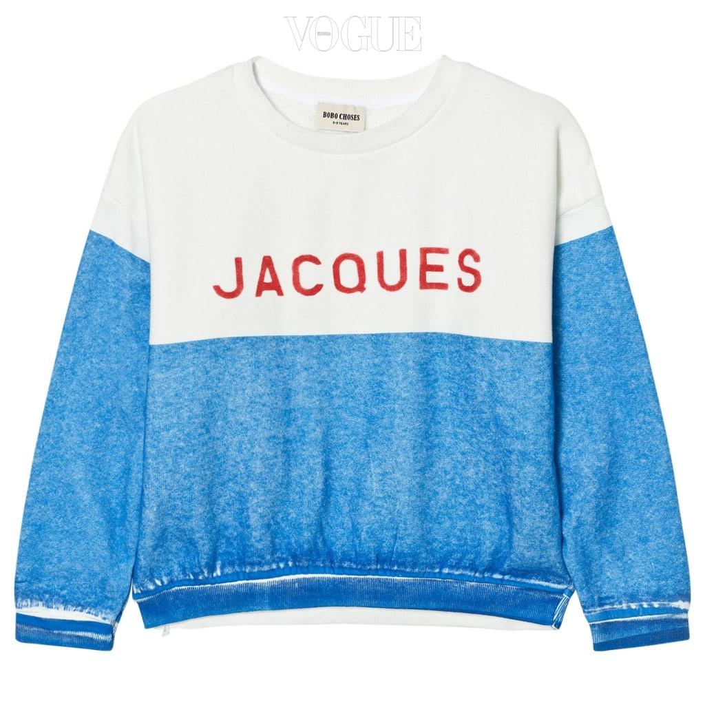 투톤 컬러가 상큼한 조화를 이룬 스웨트 셔츠는 보보쇼즈(Bobo Choses).