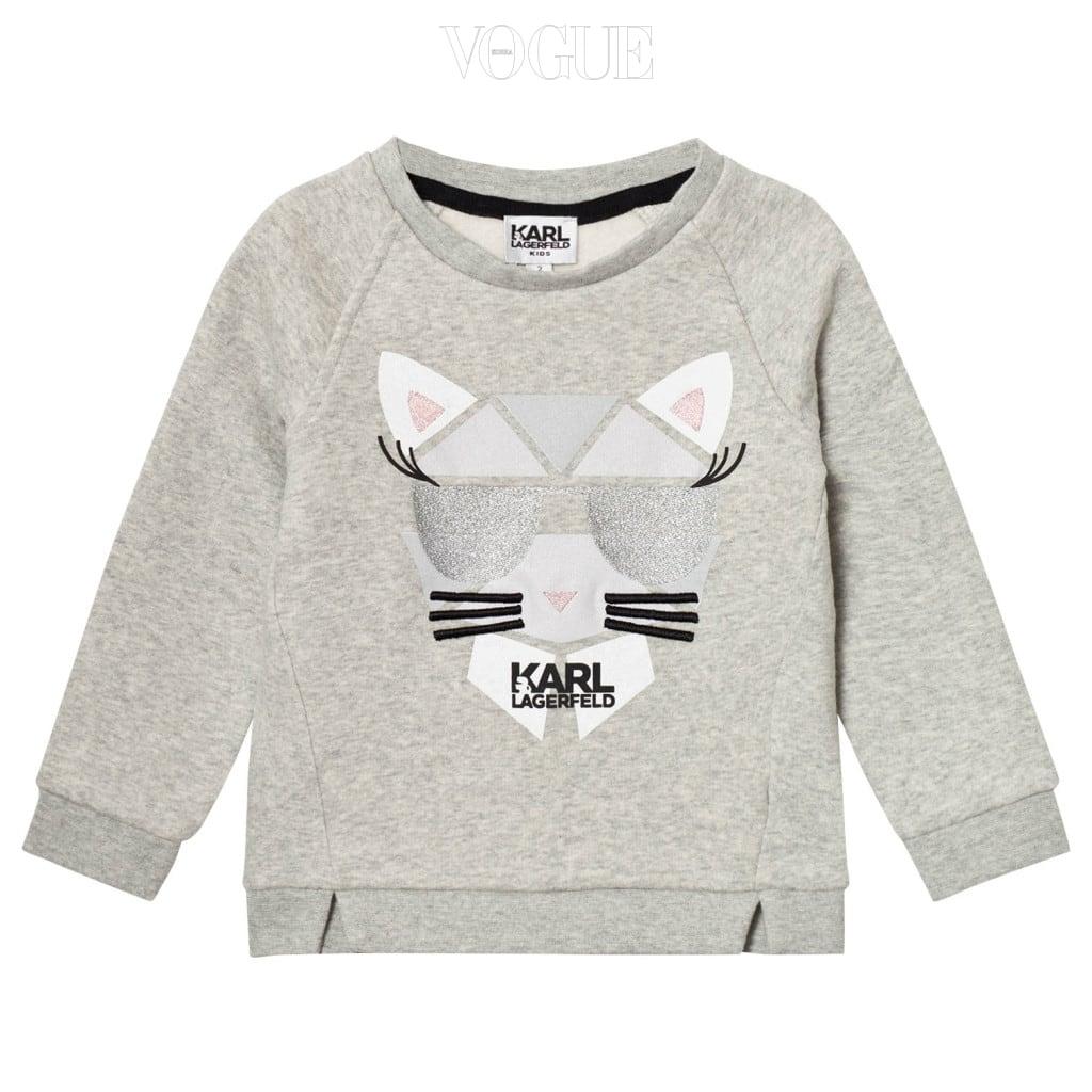 칼 라거펠트의 슈페트가 프린트 된 그레이 스웨트 셔츠는 칼 라거펠트 키즈(Karl Lagerfeld Kids).