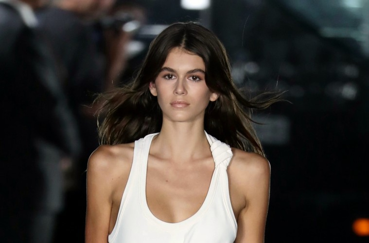 NEW YORK, NY - SEPTEMBER 09:  Kaia Gerber walks the runway at Alexander Wang show during New York Fashion Week on September 9, 2017 in New York City.  (Photo by Antonio de Moraes Barros Filho/Getty Images)