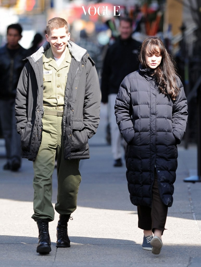 Carey Mulligan on the set of her new movie 'Inside Llewyn Davis' filming in the East Village, NYC. Pictured: Carey Mulligan Ref: SPL368021  050312   Picture by: Wylde / Splash News Splash News and Pictures Los Angeles:310-821-2666 New York:212-619-2666 London:870-934-2666 photodesk@splashnews.com