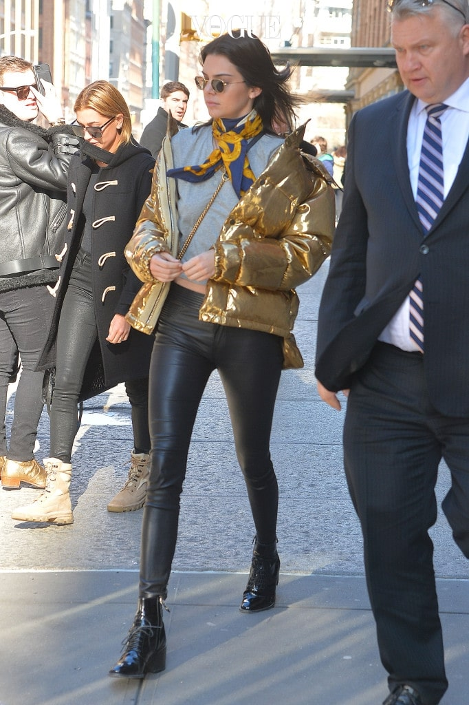 "Kendall Jenner and Hailey Baldwin shop at the ""What goes around, comes around"" store in SoHo, NYC.  Pictured: Kendall Jenner and hailey baldwin  Ref: SPL1423721  170117   Picture by: Splash News Splash News and Pictures Los Angeles:310-821-2666 New York:212-619-2666 London:870-934-2666 photodesk@splashnews.com"
