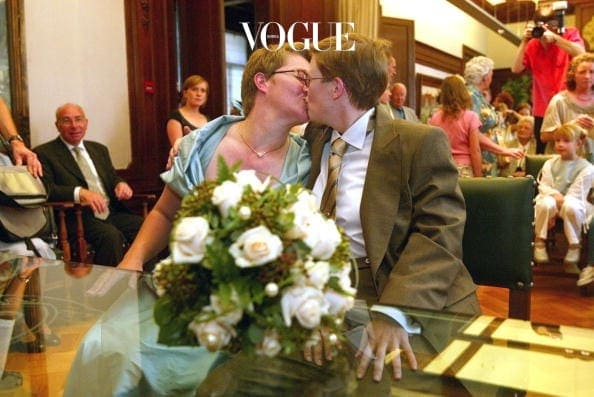 ANTWERP, BELGIUM - JUNE 6:  Lesbians Marion Huibrecht and Christel Verswyvelen celebrate their marriage June 6, 2003 in Antwerp, Belgium. Huibrecht and Verswyvelen became the first homosexual couple to marry in Belgium, celebrating 16 years of official partnership with wedding vows during their civil ceremony.  (Photo by Mark Renders/Getty Images)