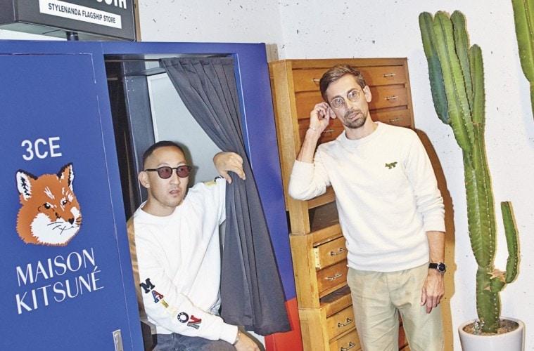 레코드 숍에서 우연히 마주쳐 친구가 된 길다스 로엑(Gildas Loaëc)과 마사야 구로키(Masaya Kuroki). 처음은 다프트 펑크의 매니저와 건축가의 만남. 그러나 두 남자의 패션과 음악 취향을 고스란히 담아 만든 브랜드 '메종 키츠네(Maison Kitsuné)'는 15년이 지난 지금 전방위 라이프스타일 브랜드로 거듭났다. 현재 패션 신에서 가장 영향력 있는 듀오로 꼽히는 그들이 K-뷰티에 손을 내밀었다. '스타일난다'의 코스메틱 브랜드 '쓰리컨셉아이즈(3CE)'와의 협업을 선보이기 위해 서울에 온 그들을 가 만났다.