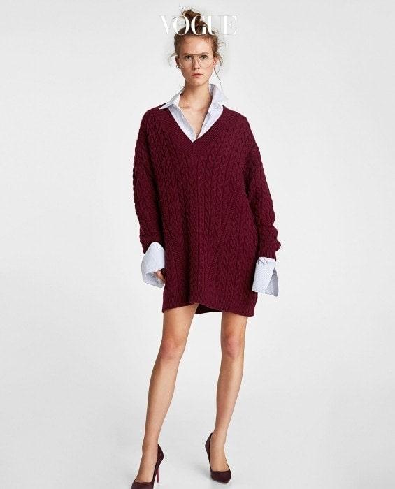 브이넥 케이블 니트 스웨터. 자라 제품. 7만9천원