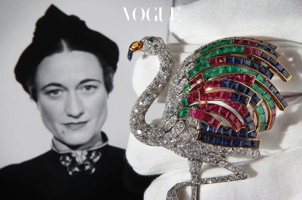 LONDON, ENGLAND - SEPTEMBER 23:  A Cartier flamingo diamond clip from 1940 estimated at ?1,000,000 - ?1,500,00 is displayed at Sotheby's on September 23, 2010 in London, England. The Jewels of the Duchess of Windsor collection will be auctioned in London on November 30, 2010. The collection, originally auctioned in 1983, comprises 20 pieces owned by Wallis Simpson, The Duchess of Windsor.  (Photo by Peter Macdiarmid/Getty Images)