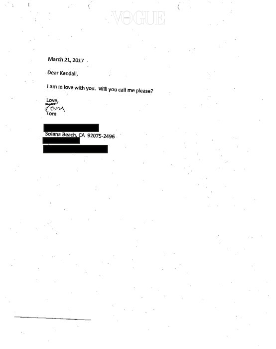 """EXCLUSIVE: These are the """"threatening"""" letters Kendall Jenner received from a fan that led to a temporary restraining order. Kendall claims Thomas Hummel, from Solana Beach, California, has been bombarding her with letters since February 2017. The notes, included in Kendall's application for a temporary restraining order against Hummel - which was approved by a Los Angeles judge on July 12, claim Kendall is bring held prisoner, refers to ASAP Rocky as """"A**** Dog S***"""" and beg her to help Hummel and call him before he dies. One letter refers to the Keeping Up With The Kardashians star as an """"internet whore"""" and reads """"You look like you've been f***ing A**** Dog S*** in the sewer for years... Did Jordan Clarkson butt rape you as the entertainment for his birthday party?"""" Hummel has been ordered to stay at least 100 yards away from Kendall until a court hearing next month. Ref: SPL1537980  130717   EXCLUSIVE Picture by: Splash News Splash News and Pictures Los Angeles:310-821-2666 New York:212-619-2666 London: 870-934-2666 photodesk@splashnews.com"""