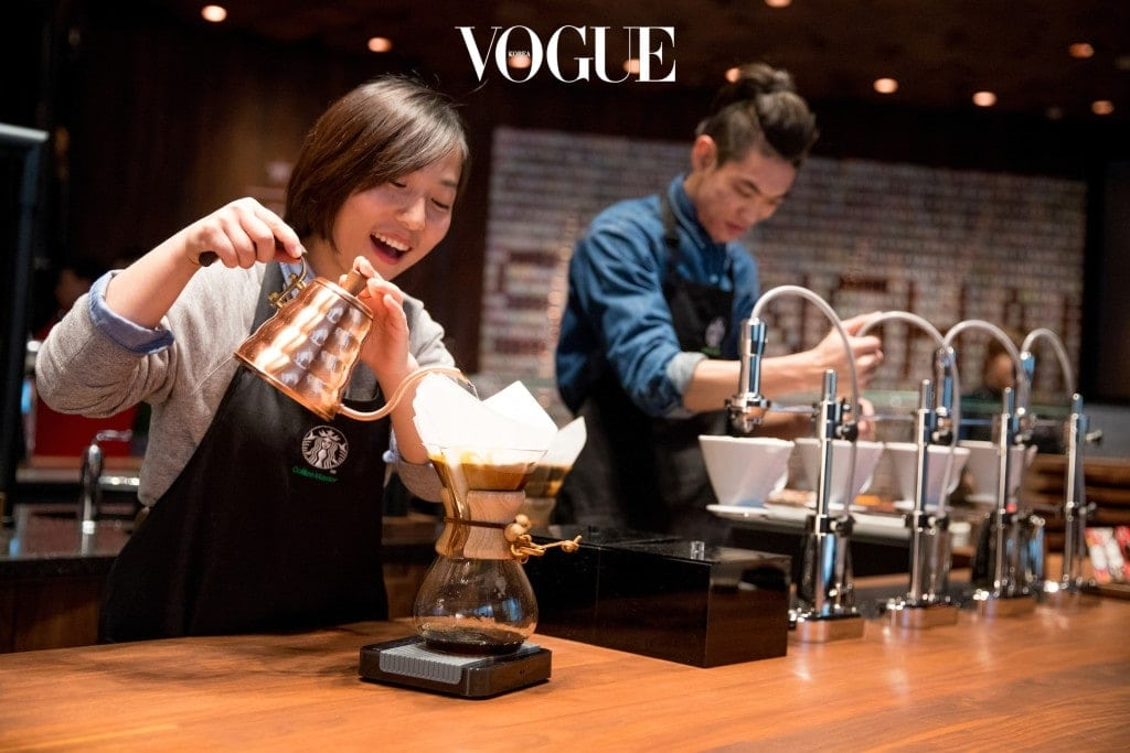 A partner makes a chemex in the new Starbucks Roastery in Shanghai, China. Photographed on Friday, December 1, 2017.  (Joshua Trujillo, Starbucks)