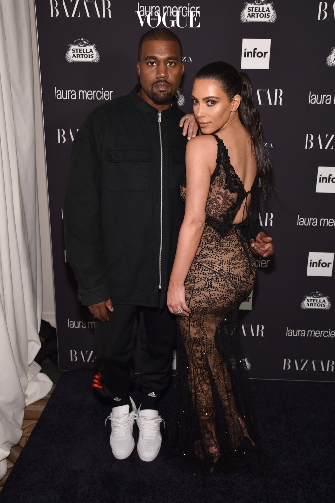 "NEW YORK, NY - SEPTEMBER 09:  Kanye West and Kim Kardashian West attend Harper's Bazaar's celebration of ""ICONS By Carine Roitfeld"" presented by Infor, Laura Mercier, and Stella Artois  at The Plaza Hotel on September 9, 2016 in New York City.  (Photo by Bryan Bedder/Getty Images for Harper's Bazaar)"