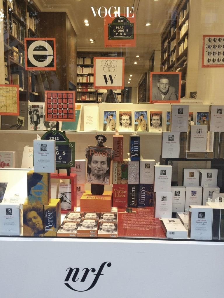 라스파이가에 위치한 갈리마르(Gallimard) 서점의 조르주 페렉 특별 가판대 전시