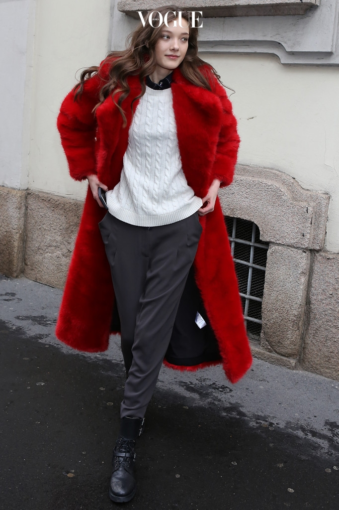 Yumi Lambert ( Victoria's Secret model ) seen leaving Ermanno Scervino FW2016 show during Milan Fashion Week in red fur coat Pictured: Yumi Lambert Ref: SPL1237671  270216   Picture by: MCvitanovic / Splash News Splash News and Pictures Los Angeles:310-821-2666 New York:212-619-2666 London:870-934-2666 photodesk@splashnews.com