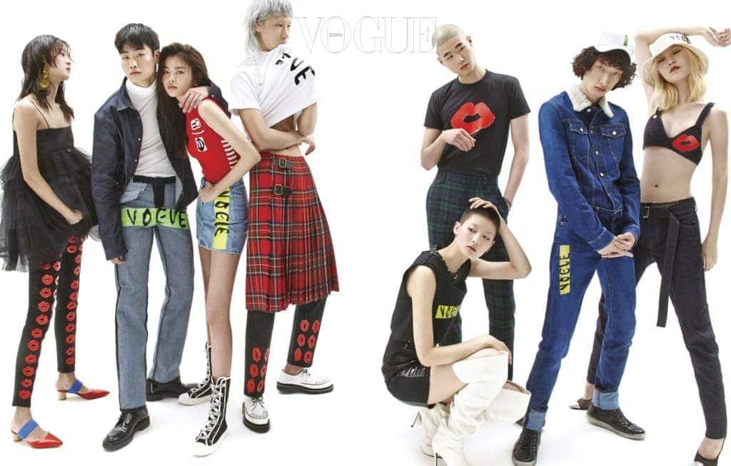 (왼쪽부터)검정 튤 드레스와 뮬은 YCH, 귀고리는 마르케스 알메이다(Marques' Almeida at Boon The Shop. 흰색 터틀넥은 캘빈 클라인(Calvin Klein), 데님 셔츠와 구두는 디올(Dior). 빨간색 니트 점프수트, 귀고리는 미우미우(Miu Miu), 검정 가죽 원피스는 베르사체(Versace), 흰색 싸이하이 부츠는 YCH. 초록색 타탄 체크 바지는 버버리(Burberry), 가죽 스트랩 팔찌는 루이비통(Louis Vuitton). 데님 재킷과 팬츠는 디올(Dior), 검은색 운동화는 생로랑 바이 안토니 바카렐로(Saint Laurent by Anthony Vaccarello). 데님 브라 톱과 팬츠, 구두는 톰 포드(Tom Ford). 하이탑 운동화는 디올. 타탄 체크 치마와 흰색 구두는 버버리(Burberry), 펜 모양 목걸이는 앰부시(Ambush at Boon The Shop).