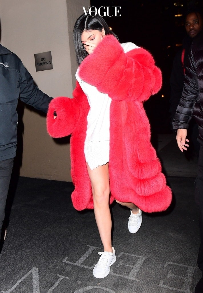 Kylie Jenner Rocks a Red Fur Coat for Valentine's Day Date with Tyga in NYC Pictured: Kylie Jenner Ref: SPL1443273  140217   Picture by: 247PAPS.TV / Splash News Splash News and Pictures Los Angeles:310-821-2666 New York:212-619-2666 London:870-934-2666 photodesk@splashnews.com