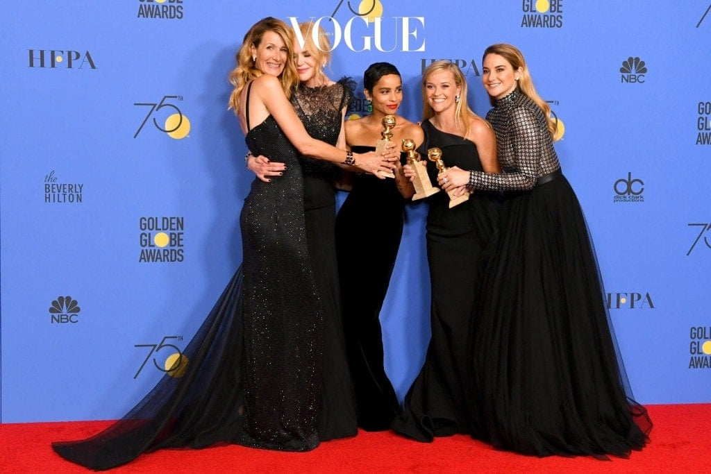 BEVERLY HILLS, CA - JANUARY 07:  (L-R) Actors Laura Dern, Nicole Kidman, Zoe Kravitz, Reese Witherspoon and Shailene Woodley pose with the Best Television Limited Series or Motion Picture Made for Television award for 'Big Little Lies' in the press room during The 75th Annual Golden Globe Awards at The Beverly Hilton Hotel on January 7, 2018 in Beverly Hills, California.  (Photo by Kevin Winter/Getty Images)