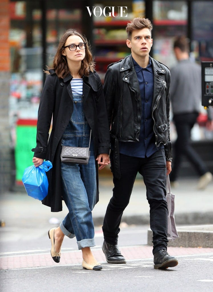 EXCLUSIVE: Actress Keira Knightley and husband, Klaxons musician James Righton, out shopping in central London. The fresh faced actress was wearing glasses, black trench coat, dungarees and a pair of Chanel flats was spotted hand in hand with her husband. The lovely couple have put up their four-bedroom East London property on the market, which the six-storey townhouse is listed at £3million.  Pictured: Keira Knightley and James Righton Ref: SPL625650  051013   EXCLUSIVE Picture by: Gotcha Images / Splash News Splash News and Pictures Los Angeles:310-821-2666 New York:212-619-2666 London:870-934-2666 photodesk@splashnews.com
