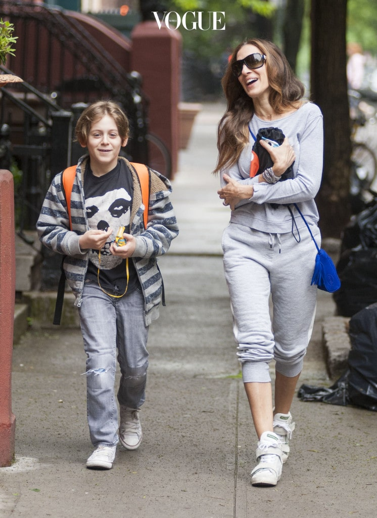 Sarah Jessica Parker and son James out in New York. Pictured: Sarah Jessica Parker and James Broderick  Ref: SPL764543  220514   Picture by: Eddie Mejia / Splash News Splash News and Pictures Los Angeles:310-821-2666 New York:212-619-2666 London:870-934-2666 photodesk@splashnews.com