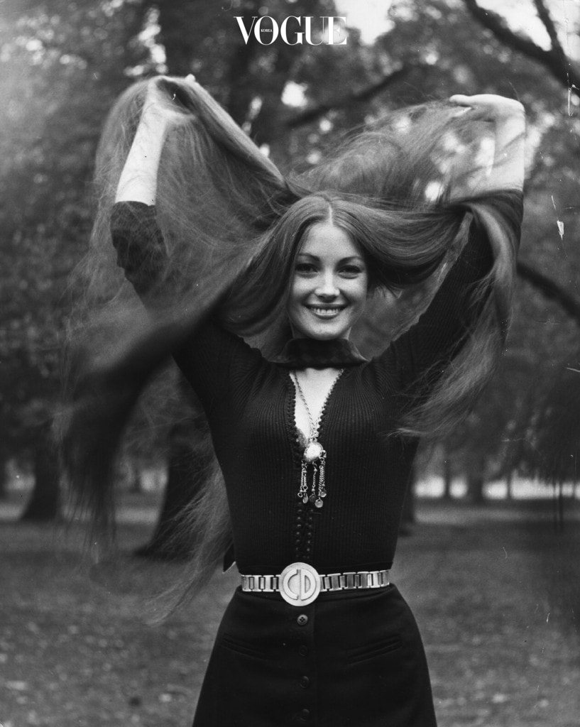 Model and actress Jane Seymour shows off her long tresses in the park, London.  Original Publication: People Disc - HL0275   (Photo by Keystone/Getty Images)