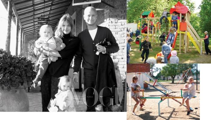 남편 저스틴, 딸 네바, 막내 빅터와 함께한 나탈리아.(왼쪽)  나탈리아의 자선재단인'네이키드 하트 파운데이션'이 러시아에 세운 놀이터 중 하나. 고국 러시아의 아이들을 위해 놀이터를 세우겠다는 결심으로 탄생한 그녀의 재단은 이미 러시아 전역에 40개의 놀이터를 완성했다.(오른쪽 위)큰아들 루카스를 포함한 세 아이들과 놀이터에서 놀고 있는 나탈리아.(오른쪽 아래)