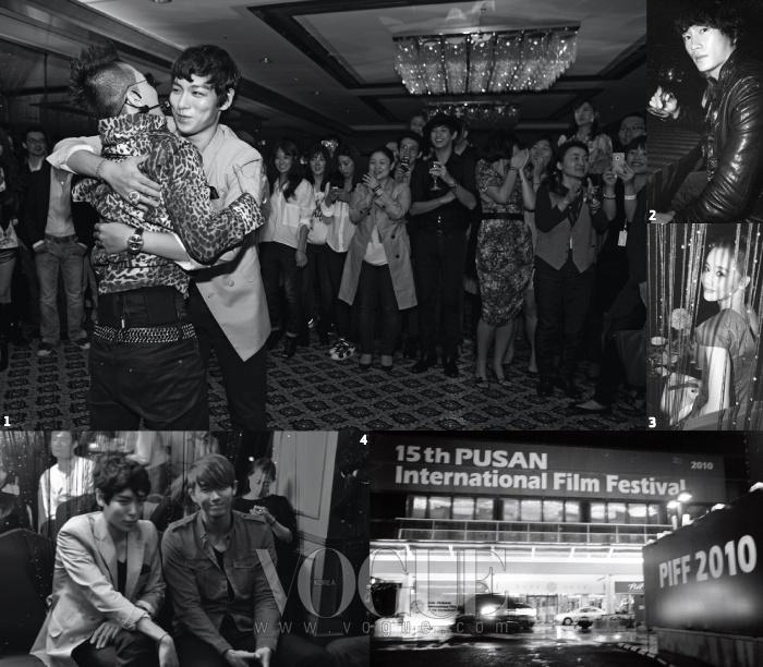 1. 태양의 공연을 응원하기 위해 나온 빅뱅의 맏형 탑의 근사한 포옹. 2. 오랜만에 공식석상에 나온 지성. 3. 귀여운 연기파 배우 황우 슬헤.4. YG의 탑과 JYP의 임슬옹이 가수가 아닌 신인 배우로 인사를 나눴다.