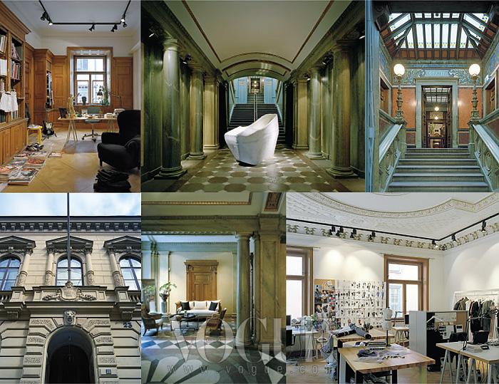 스웨덴의 부유한 가문이 소유했던 은행 건물을 본사로 사용하고 있는 아크네 스튜디오. 왼쪽 위가 조니 요한슨의 개인 사무실.